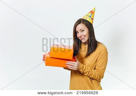 Beautiful Caucasian Sad Young Indignant Birthday Woman In Yellow Clothes Holding Credit Card, Lot Of