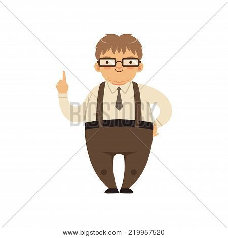 Fat smiling nerd standing with index finger up. Cartoon man character in glasses, shirt, tie, pants with suspenders. Smart person. Vector illustration in flat style isolated on white background.