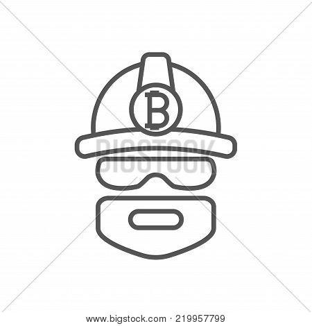 Bitcoin miner extracting bitcoins. Miner logo. Mining Bitcoin Crypto Currencies. Vector illustration. Editable stroke. EPS 10
