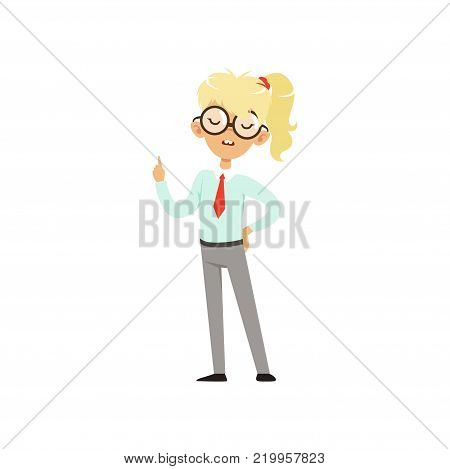 Confident nerd girl standing and holding index finger up. Cartoon teenager character with pony tail in glasses and school uniform with tie. Confident smart person. Isolated flat vector illustration.