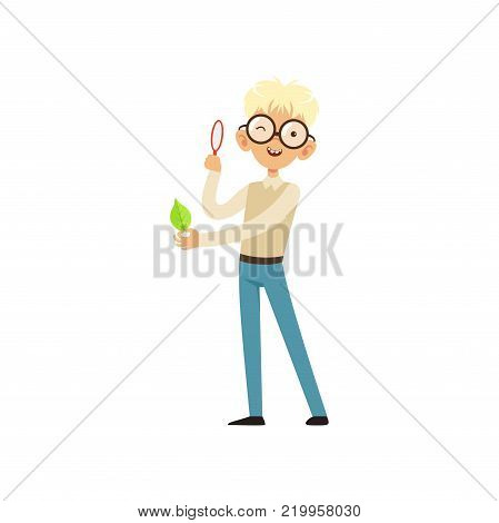 Nerd boy looking at green leaf with magnifying glass. Funny blond kid character in glasses, sweater and blue jeans. Schooler with smiling face expression. Flat vector illustration isolated on white.