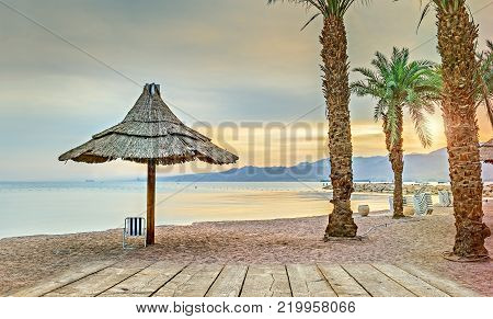 Eilat is a famous Israeli city located on the Red Sea, its sunny beautiful beaches and resort hotels attracts thousands relaxing and resting tourists from around the world