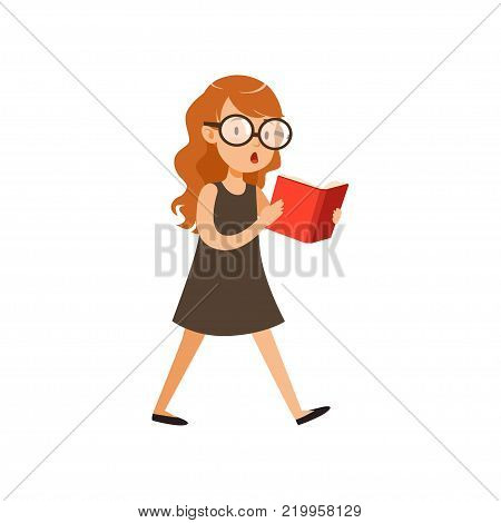 Cute nerd girl walking and reading book. Pupil with interested face expression in black dress and glassed. Cartoon character of smart kid. Colorful vector illustration in flat style isolated on white.