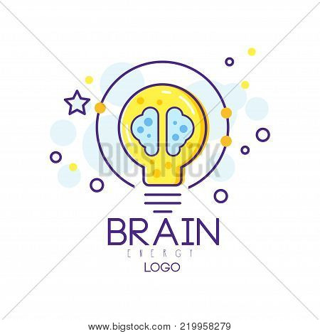 Original emblem with energy brain and lightbulb. Smart solution or creative idea concept. Isolated abstract illustration in linear style. Colorful vector element for infographic, logo, corporate label