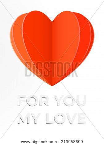 Confession in love card with paper cut heart illustration