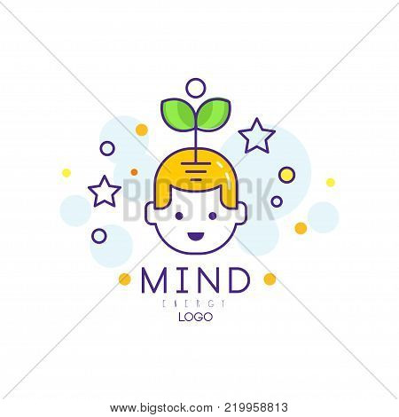 Original logo design with sprout coming out of child head. Mind energy and growth concept. Genius school. Children early education and development. Creative brain. Outline vector illustration.