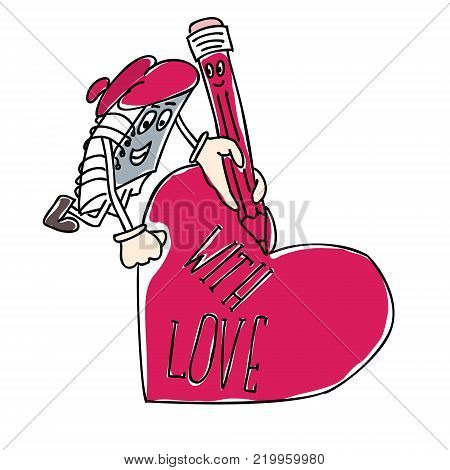 character notebook writes on the heart for Valentines Day. Vector flat illustration.
