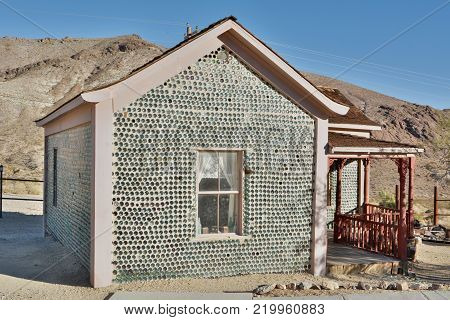 Beatty, Nevada, United States of America - November 22, 2017. Tom Kelley bottle house in Rhyolite ghost town near Beatty, Nevada, United States of America.