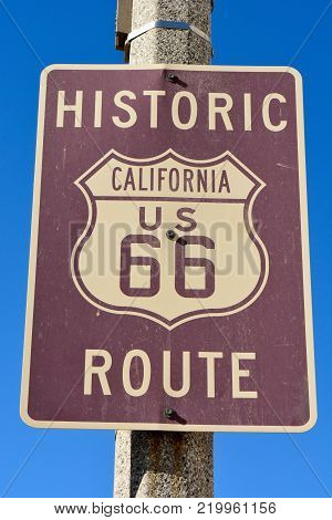 Historic route 66 road sign in California, USA.