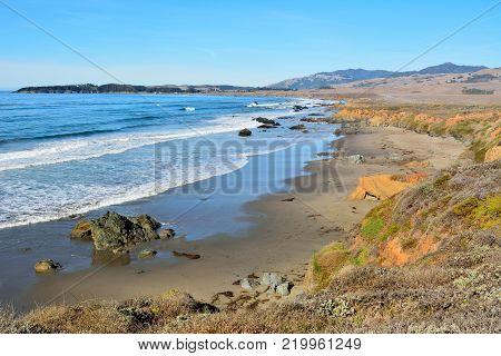 Pacific coast near San Simeon in California.