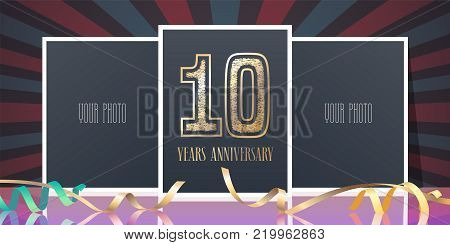 10 years anniversary vector icon, logo. Template design element, greeting card with collage of photo frames and number for 10th anniversary