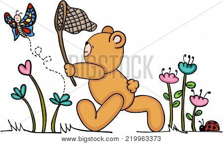 Scalable vectorial representing a cute teddy bear chasing a butterfly, illustration isolated on white background.