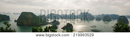 HALONG bay in vietnam. UNESCO World Heritage Site. View from TiTop island and its most popular view for travel in Halong bay.