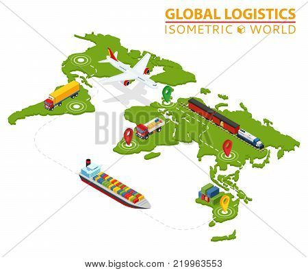 Global Logistic Isometric Vehicle Infographic. Ship Cargo Truck Van Logistics Service. Import Export Chain. Ensured Deliveries Drawing. Distribute Objects Shipment Vector. Fast Delivery Shipping