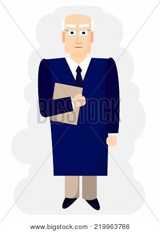 the judge delivers a verdict in court. Jurisprudence vector illustration