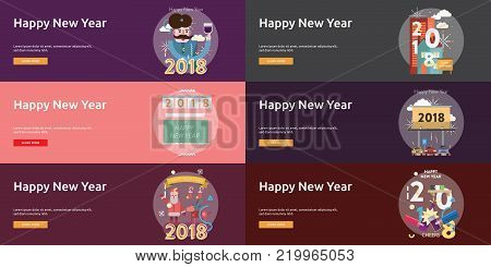 Happy New Year Banner Design | Set of great banner design illustration concepts for new year, holiday, event and much more.