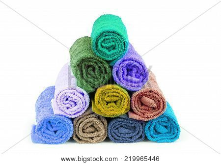 Colorful towels. Isolated on white background Tourist, resort, Health, spa, No, people, Clean, towels,