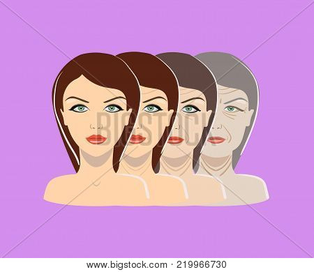Vector aging process. Four stages of face changing on the purple background isolated