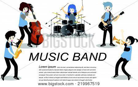 Musicians Jazz group ,Play guitar,Saxophoneist;trumpet player; guitarist, drummer, solo guitarist, bassist. Jazz band.Vector illustration isolated on background in cartoon style