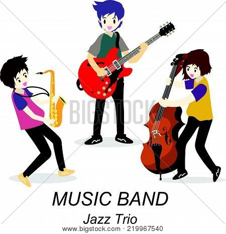 Musicians Jazz Trio ,Play guitar,solo guitarist, bassist,Saxophone. Jazz band.Vector illustration isolated on background in cartoon style