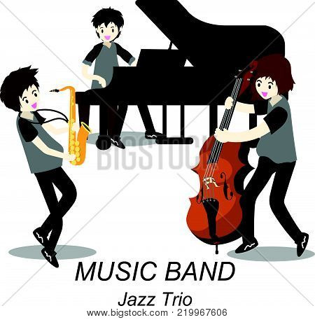 Musicians Jazz Trio ,Play Saxophone,bassist ,Piano, .Jazz band.Vector illustration isolated on background in cartoon style....
