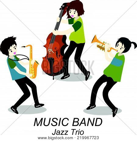 Musicians Jazz Trio ,Play Trumpet , bassist,Saxophone. Jazz band.Vector illustration isolated on background in cartoon style
