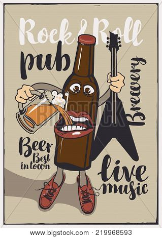 Vector banner for Rock and roll pub with inscriptions brewery, beer, best in town, live music. Illustration in a flat style with a cheerful bottle of beer that holds a guitar and a full glass of beer