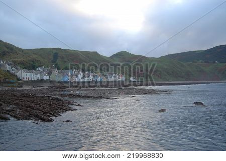 Traditional Fishing Village of Gardenstown, in North of  Scotland