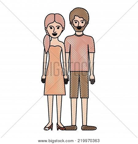 couple in colored crayon silhouette and her with strapless dress and heel shoes with pigtail hairstyle and him with t-shirt and short pants and shoes with short hair and beard vector illustration