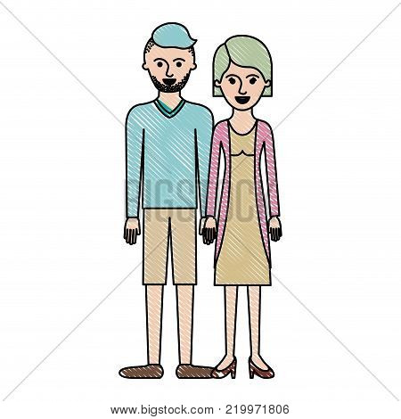couple in colored crayon silhouette and him with t-shirt long sleeve and short pants and shoes with high fade haircut and stubble beard and her with blouse and jacket and skirt and heel shoes with short hair vector illustration