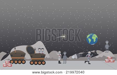 Vector illustration of astronauts walking on the Moon surface with aliens, working at lunar roving vehicle, space base and space exploration equipment. Flat style design.