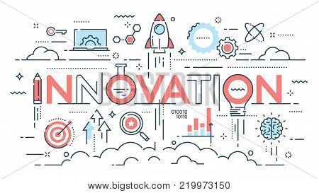 Innovation, new ideas, creativity and technology thin line concept. Vector illustration. Editable stroke.