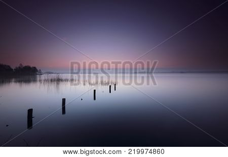 Poles and reed in a quiet lake under a blue and orange dawn
