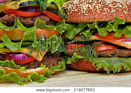Ingredients for a delicious sandwich. Great hamburger from close range.