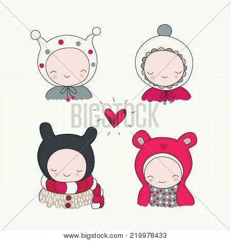 Children in winter cloth and heart isolated. Cute kids, portrait, funny beanies, vector illustration perfect for Christmas, Valentines day greeting cards.