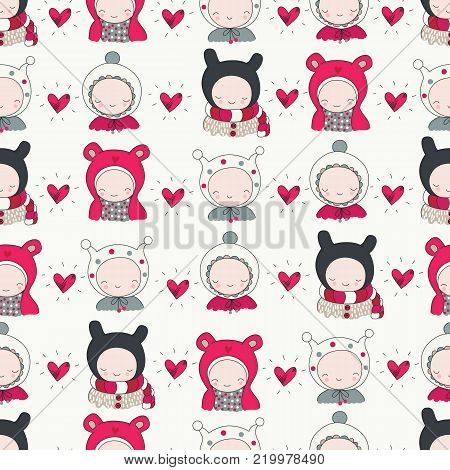 Children in winter cloth and hearts seamless pattern. Cute kids, funny beanies, vector illustration perfect for Christmas, Valentines day greeting cards, wrapping paper.