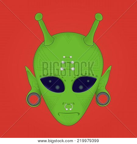 vector illustration of a green alien face geometric tattoo with piercings and stretched ears on a red background