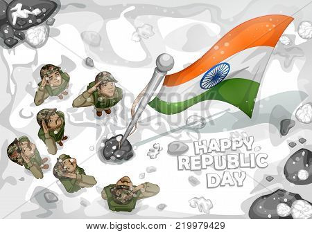 illustration of Indian Army soilder saluting falg of India on Happy Republic Day