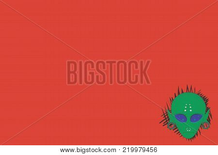 vector template green face of an alien in geometric tattoo with piercings and stretched ears on a red background