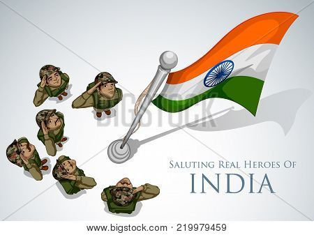illustration of Indian Army soilder saluting falg of India with pride
