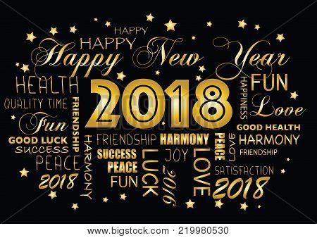 Happy New Year 2018 Greeting Card - Tagcloud