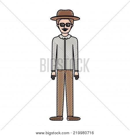 man with hat and glasses and shirt and pants and shoes with short hair and moustache in colored crayon silhouette vector illustration