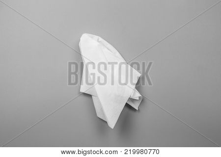 White tissues on gray background. handkerchief object.