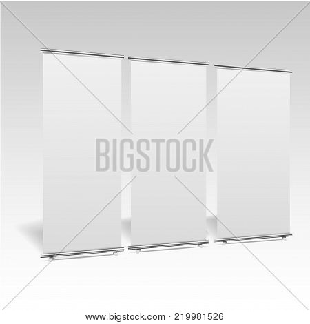 Blank roll-up banner display, isolated with clipping path. Blank trade show booth mock up.  Trade show booth . Vector .