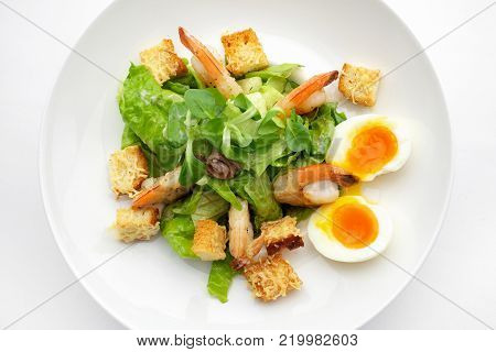 salat with shrimp and eggs on white plate