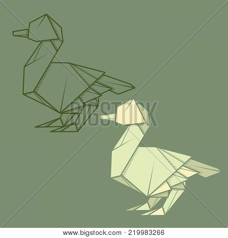 Set vector simple illustration paper origami and contour drawing of duck.