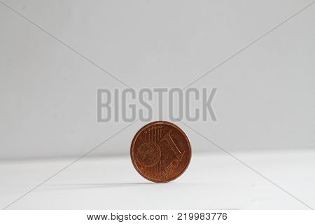 One euro coin on isolated white background Denomination is one euro cent