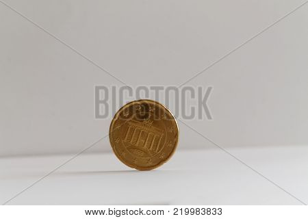 One euro coin on isolated white background Denomination is 20 euro cents - back side