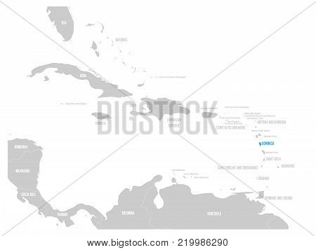Dominica blue marked in the map of Caribbean. Vector illustration.