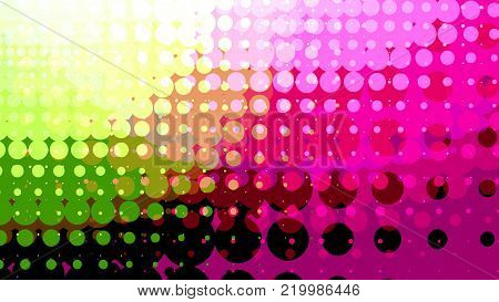 Wide format abstract background, trendy halftone effect. Stipple effect. Retro composition rhythmic bright dotted tiles. Full HD 4K colorful wallpaper. Pace for text. Vector EPS10 with transparency